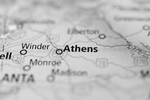 Map showing Athens