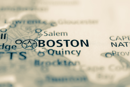 map showing boston