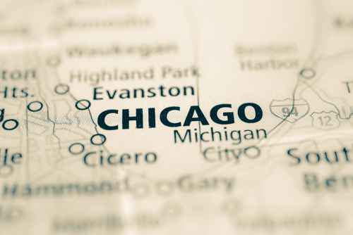 map showing Chicago