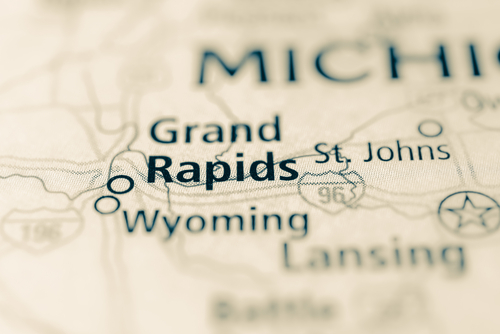 map showing grand rapids