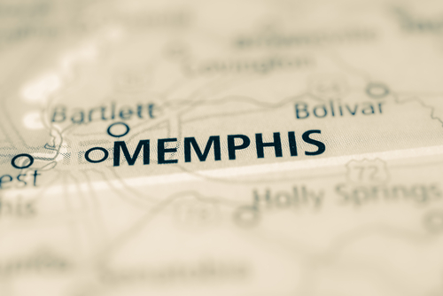 map showing memphis