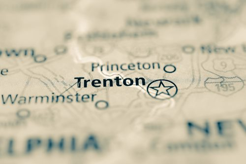 Map showing Trenton, NJ