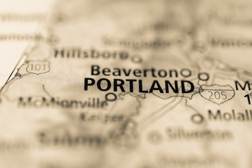map showing portland