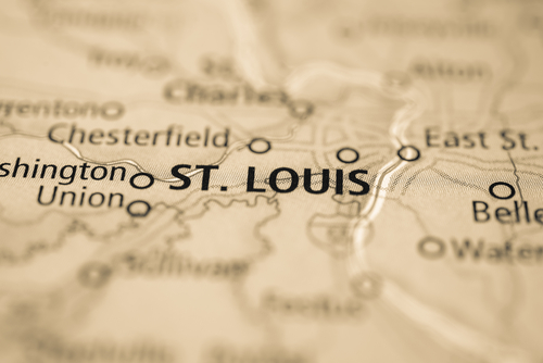 map showing St. Louis