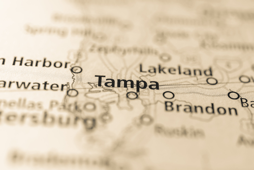 map showing tampa