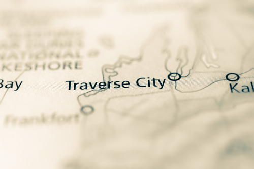 map showing traverse city
