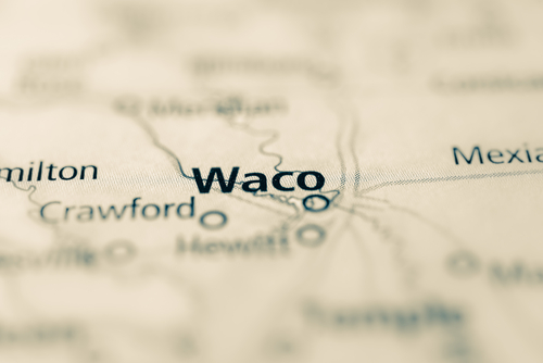 Map showing Waco, TX